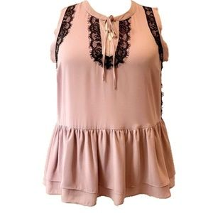 Lane Bryant dusty pink with black lace top…